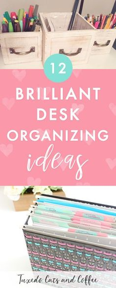 Is your office or desk space a cluttered mess? Are you finding it hard to be productive or get things done because you can't find anything and your desk is covered in papers and junk? Here are 12 genius desk organizing hacks to help get your home office together! #organizing #organization #deskorganizing #organizinghacks #organizingideas #officeorganizing
