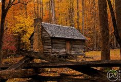 This is the Alex Cole cabin located at the Jim Bales Place seen on the Roaring Fork Motor Nature Trail in The Great Smoky Mountains - Tennessee. Near Gatlinburg