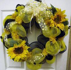 Bumblebee Deco Mesh Wreath  Geo Mesh Wreath  by giftbasketsupplies, $45.99