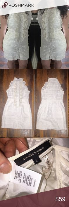 "Nanette Lepore White Linen Ruffle Sundress 6 Perfect for spring and summer! Dress is in excellent condition, no rips/ tears/ stains. Crew neck, cotton blend material with minimal stretch (74% cotton, 26% nylon). Dress is 35"" long approximately 30"" at the waist and 32"" at the bust (I am a 34D and it fits me a tad snug, as seen in second photo).  Bundle two or more items from my closet and save! 💕🌷 Nanette Lepore Dresses"