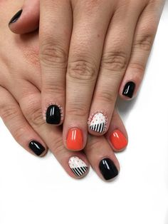Black and orange nails. Halloween nails. Stripe nails. #PreciousPhan