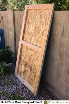 The shed door is built using sandwich construction. It is much more stable and stronger when the outer door panel is installed. Lean To Shed Plans, Free Shed Plans, Backyard Storage Sheds, Storage Shed Plans, Shed Construction, Build Your Own Shed, Garage Shed, Diy Garage, Shed Doors
