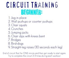 "Start with the beginner program if you are fairly new to exercise or unsure of your current fitness level.  Try to complete the circuit workout three times a week.  Make an effort on your ""off"" days to go for a walk or jog and do some light stretching."