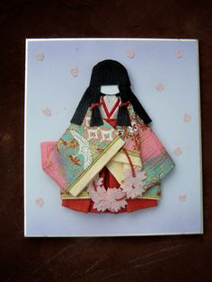 Vintage Home Decor Japanese Paper Art ,Wall Hanging, Washi Papercraft,  Ceremonial Dress Chiyogami Doll Style. $12.50, via Etsy.