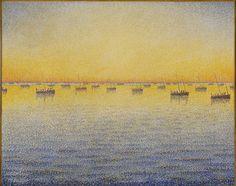 Paul Signac. Setting Sun. Sardine Fishing. Adagio. Opus 221 from the series The Sea, The Boats, Concarneau. 1891