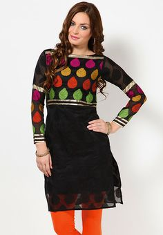 Full Sleeve Self Pattern Black Kurti