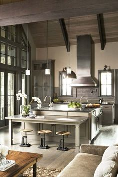 modern and a little rustic interior design, contemporary kitchens, color, kitchen photos, grey, postcard, bar stools, kitchen designs, island