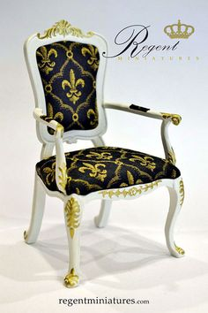 """1:6 scale Arm Chair, White Satin Finish with gold accents by Regent Miniatures, 1/6 Scale Museum Quality Furniture. Perfect for Barbie, Fashion Royalty, Hot Toys 12"""" Action Figures and other like sized dolls 11"""" to 13"""". Manufactured by skilled craftsmen from solid kiln dried hardwoods, hand carved and finished. Visit http://www.regentminiatures.com"""