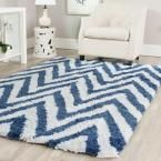 Chevron Shag Ivory/Blue 8 ft. 9 in. x 12 ft. Area Rug