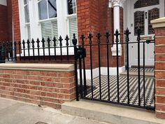 rail and gate london red brick rubber wall coping caps in yorks stone battersea clapham chelsea london Front Garden Path, Front Path, Front Gardens, Edwardian House, Victorian Terrace, Edwardian Era, Imprinted Concrete Driveway, Cottages Uk, Wrought Iron Garden Gates