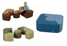 Rounded soft seating set with three nesting pieces. Great for libraries, kid's medical waiting rooms and classroom reading nooks.