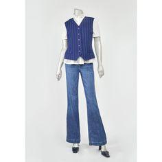 Vintage 90s Vest • Navy Blue Vest • Pin Striped Vest • Pinstripe Vest • Button Up Vest • Tie Back Vest • Satin Back Vest • 1990s Suit Vest (Large-Size12)  #vintage #clothing #clothes #fashion #style #vests #womens