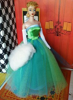 1963-1964 Vintage Barbie Senior Prom #951.  Always thought this was the prettiest color combination of all Barbie's clothes....I still pair those two colors together, 50 years later!