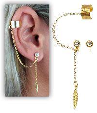 Brinco EAR CUFF folheado a ouro c/ correntinha, strass e pena-Clique para maiores detalhes