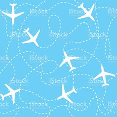 Seamless background airplanes flying with dashed lines as tracks or royalty-free stock vector art Airplane Flying, Seamless Background, Free Vector Art, Image Now, Airplanes, Royalty Free Images, Track, Stock Photos, Drawings