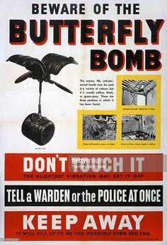 Beware of the Butterfly Bomb poster warning of the dangers of the device