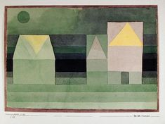 Paul Klee - Drei Hauser Grun-violette Stufung (Troi Maisons Gradation vert-violet); Creation Date: 1922; Medium: pochoir on rice paper; Dimensions: 21...