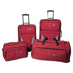 American Tourister Fieldbrook Four-Piece Luggage Set (Red) Luggage Store, Luggage Sets, Travel Luggage, Travel Bags, Birthday Wishlist, Birthday List, Skate Wheels, Cool Things To Buy, Stuff To Buy