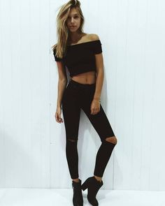 Alexis Ren's Fashion | via Tumblr. black on black. all black. neutral. booties. jeans. leggings. off the shoulder. trends. trend. fashion. summer. fall. spring. ripped jeans. casual. date night. movies. dinner. summer night out.