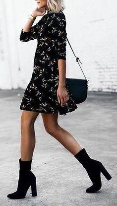 tea dress. ankle boots.