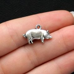 10 Pig Charms Antique Tibetan Silver Tone  by BohemianFindings, $2.50