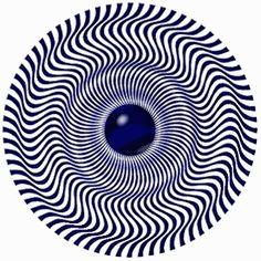 Mira fijamente el punto central durante unos segundos y después mueve la cabeza hacia alante y hacia atrás. ¿La imagen permanece fija? ¿Gira a la derecha? ¿A la izquierda?