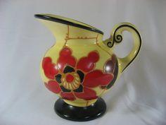Czechoslovakia Czech Pottery Pitcher Ditmar Urbach Art Deco Floral Flowers | eBay
