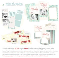 FREE set of holiday printables. Photoshop and PSE templates with gift tags and business cards - customizable with vintage frames for photos and decorative text options. From Paint the Moon Photoshop Actions.