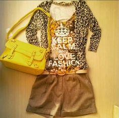 cardigan leopard print bolsa amarela t shirt keep calm and love fashion bermuda alfaiataria
