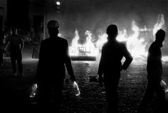 FRANCE. Paris. Night from 10 to 11 May, 1968. Demonstrators with molotov cocktail. Boulevard St. Michel.