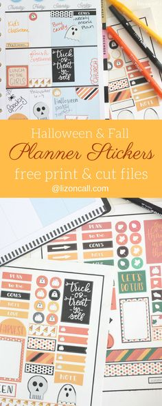 Add these festive and spooky free Happy Planner Stickers to your planner to jazz up your Halloween and Fall planner layouts.