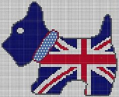 grille chien union jack, to celebrate the diamond jubilee year, or change it to an American flag Union Jack, Cross Stitch Charts, Cross Stitch Designs, Cross Stitch Patterns, Hama Beads, Cross Stitching, Cross Stitch Embroidery, Cross Stitch Animals, Scottie Dog