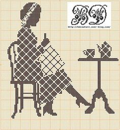 plaid lady stitching cross stitch