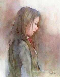 ATSUSHI MATSUBAYASHI Watercolor Portrait Painting, Watercolor Tips, Watercolor Techniques, Female Portrait, Portrait Art, Portrait Paintings, Drawing Competition, Japanese Artists, Face Art