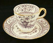1750 Antique English Bow Porcelain Mulberry Transferware Cup & Saucer