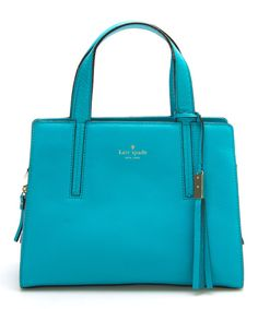 Look at this Kate Spade Neon Turquoise Dominique Grey Street Leather Tote on #zulily today!