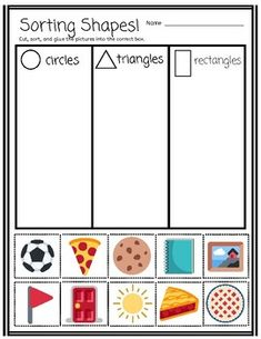 Sorting By Real-World Shapes cut and paste activity (Pre-K, Kindergarten)