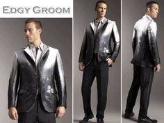 GROOMS MODERN WEDDING ATTIRE   Rock star groom's style- a metallic Alexander McQueen tux jacket