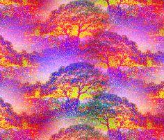 POINTILLIST JUNGLE SAVANNAH TREES PINK SUNRISE fabric by paysmage on Spoonflower - custom fabric