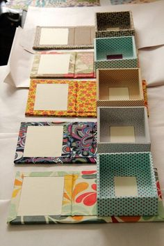 DIY Fabric Covered Boxes and with a mirrorby Zoopress studio, via On the bottom . There's that fabric again!DIY Fabric Covered Book Covers Into Boxes - add magnetic catchUse Old chocolate boxes and a book coverThen glue your favorite papper or materi Diy Gift Box, Diy Box, Diy Gifts, Gift Boxes, Fabric Covered Boxes, Fabric Boxes, Fabric Storage, Fabric Basket, Diy Storage