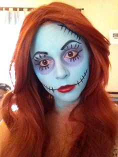2015 Scary Halloween nightmare before christmas stitch ragdoll face painting - makeup, cosplay Halloween 2015, Holidays Halloween, Scary Halloween, Halloween Makeup, Halloween Party, Halloween Inspo, Sally Nightmare Before Christmas, Nightmare Before Christmas Decorations, Sally Makeup