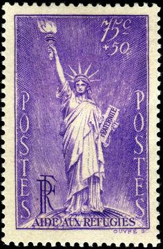 1936 French stamp depicting the Statue of Liberty, which was given to the U.S. by France