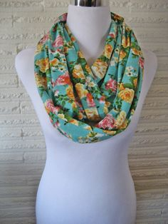 Spring Floral Scarf Aqua blue Pink Orange Roses Infinity Scarf  by ChevronScarf
