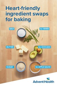 Try these heart-healthy swaps for your favorite recipes. Substitute herbs and spices for salt, avocado for butter, or applesauce for sugar. These replacements can lower sodium and fat intake without sacrificing taste. Keto Meal Plan, Diet Meal Plans, Heart Healthy Recipes, Diet Recipes, Nutritional Value Of Food, Healthy Baking Substitutes, Keto Diet Side Effects, Starting Keto Diet, Low Carb Vegetables