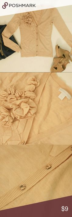 NY&C Flower Accent Sweater Pale Peach / 100% Acrylic New York & Company Sweaters Cardigans