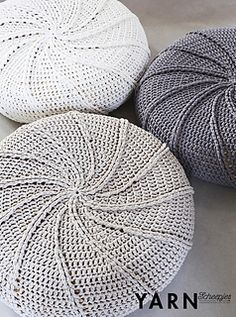 Like giant stepping stones these poufs lead the way to the sofa.- Scheepjes YARN magazine
