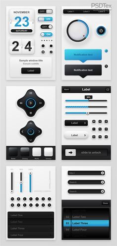 Creative phone exquisite blue UI design PSD  source files