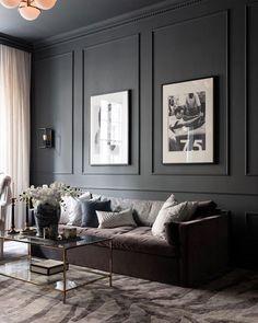 Dark Living Rooms, Living Room Interior, Home Living Room, Home Interior Design, Living Room Designs, Living Room Decor, Interior Decorating, Black Living Room Furniture, Decorating Ideas