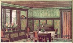 1910 Sherwin Williams Paint Ad  This ad shows a 1910 dining room with some pretty attractive features including the wainscot and painted panels, stenciled pattern around the top of the plate rail, and a stenciled portiere at the doorway.