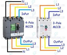 18 best electrical tutorials images diagram, electronic Ground Fault Breaker Wiring Diagram a complete guide of mccb wiring connection diagram for three pole , four pole circuit breaker for controlling 3 phase and 3 phase 4 wire system